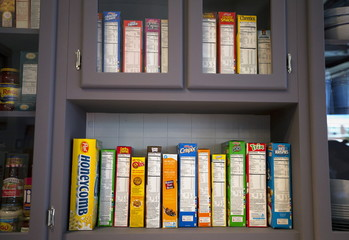 "Cereal boxes inside a replica set from the ""Seinfeld"" television comedy series are seen on display at Hulu's ""Seinfeld: The Apartment"", a temporary exhibit on West 14th street in the Manhattan borough of New York"
