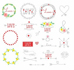set of elements for design - arrows, hearts, love,  circlet of flowers