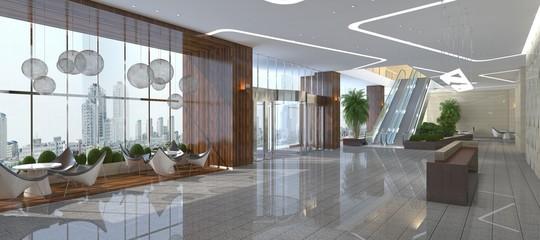 Fototapeta Interior of hotel reception hall 3D illustration obraz