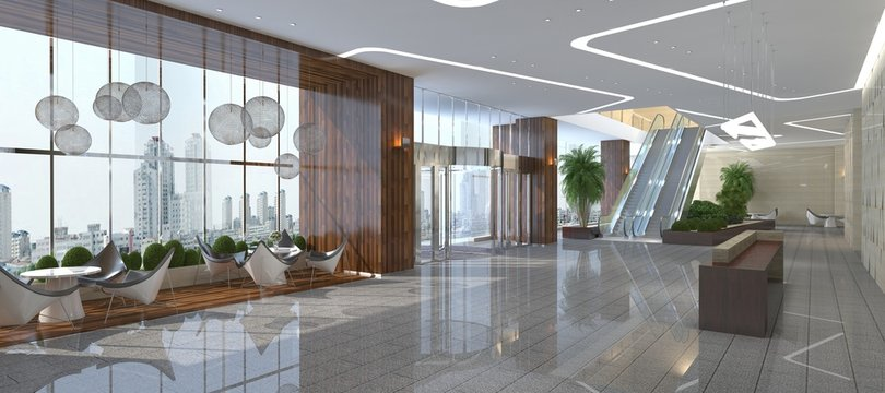 Interior of hotel reception hall 3D illustration