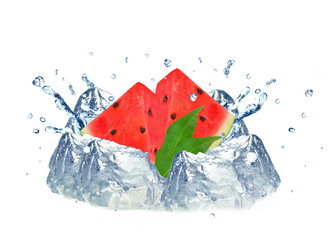Watermelon splash and ice isolated
