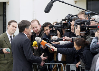 Netherlands' Prime Minister Jan Peter Balkenende speaks to the press about the Tripoli air crash at Claus Party Centre in Hoofddorp