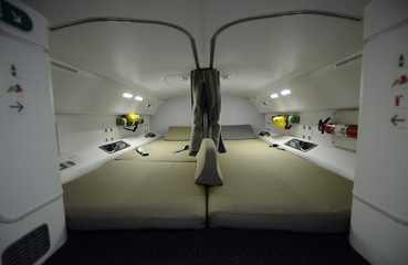 Air Canada's Boeing 787 Dreamliner pilot rest area is seen during the unveiling of its brand new international interior product at Pearson International Airport in Toronto