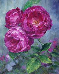 pink roses in the garden - oil painted on canvas