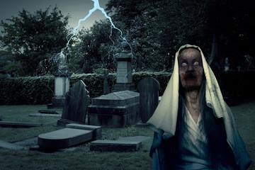 Zombie Graveyard Ghost With Lightening