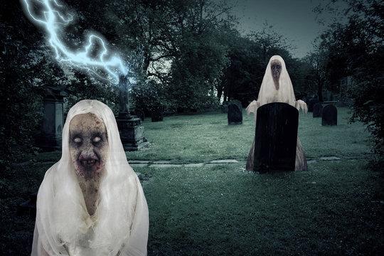 Zombie Graveyard Ghosts With Lightening