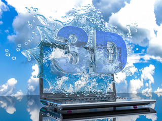 Splash water from the laptop screen with symbols 3d, 3d render