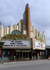"""The marquee of Crest Theater advertises the showing of the movie """"The Interview"""" beginning Christmas Day in Los Angeles"""