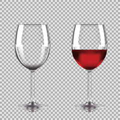 Wine glasses - empty, half full. Set of transparent vector wineglass with red wine.