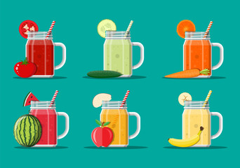 Fresh vegetable and fruit juice set.