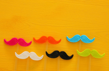 Father's day concept. Hipster colorful and funny moustache