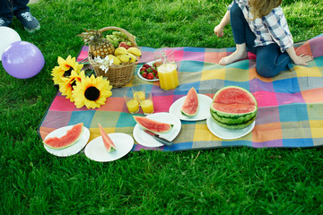 Still life with picnic outdoors