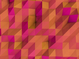 Multicolor geometric rumpled triangular low poly backdrop. 3D rendering