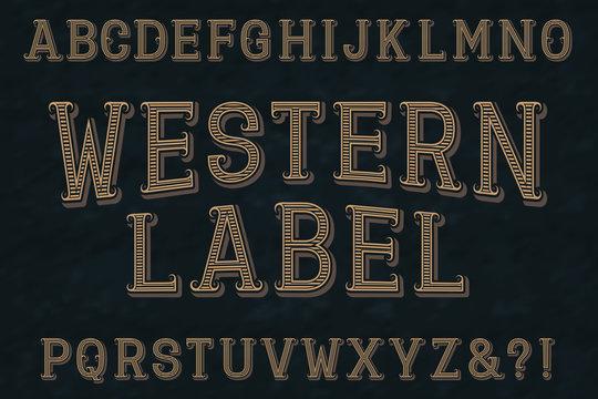 Western label font. Isolated english alphabet.