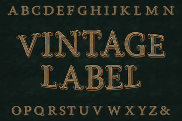 Vintage label font. Isolated english alphabet.