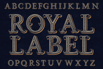 Royal label font. Isolated english alphabet.