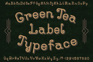Green Tea Label Typeface font. Isolated english alphabet.