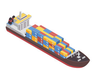 Modern Sea Transportation Illustration Asset - Commercial Cargo Ship