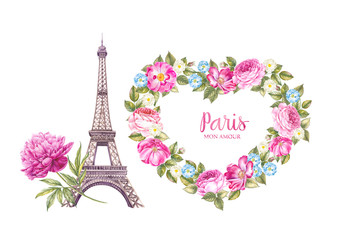 The Eiffel Tower and the heart of flowers.