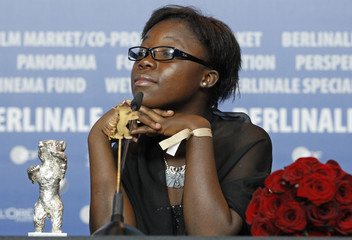 Congo's actress Mwanza attends the news conference during the 62nd Berlinale International Film Festival in Berlin