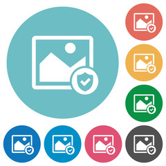 Protected image flat round icons