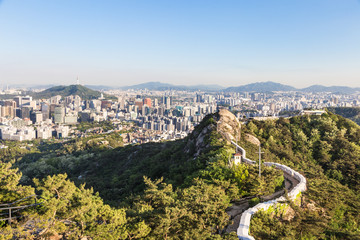 Seoul city wall from Inwangsan mountain in South Korea capital city