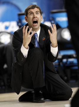 Butler University head coach Stevens reacts to a call during the second half of play against Marquette University in Lexington