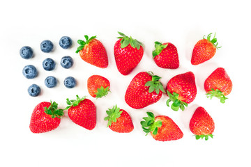 American flag of blueberries and strawberries on white