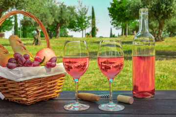 Rose wine and fruits at picnic with copyspace