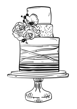 Hand drawn vector graphic illustration of big wedding cake with stripes and flowers isolated on white background