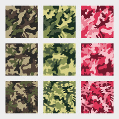 Set of nine camouflage seamless patterns. Vector background