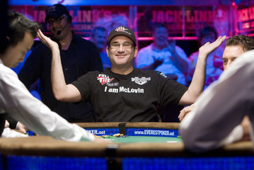 Poker professional Matusow celebrates a winning hand during the 41st annual World Series of Poker no-limit Texas Hold 'em event in Las Vegas