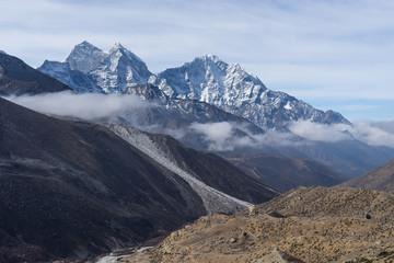 Kangtega and Thamserku mountain peak at Dingboche village, Everest region, Nepal