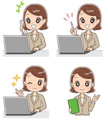 パソコンと女性社員のイラスト(セット)