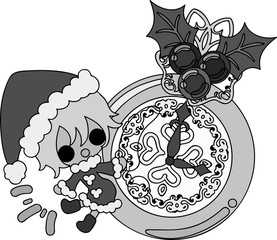 The cute illustration of Christmas and a girl -Santa Claus and a clock-