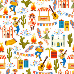 Latin American holiday, the June party of Brazil. Seamless pattern.