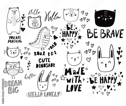 Set of wonderful cute and cheerful animals in doodle style