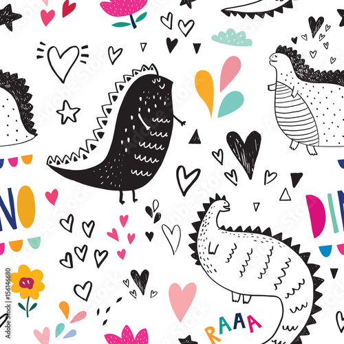 Seamless pattern with cute black dinosaurs in nature