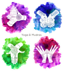 Collection with hand drawn mudras on watercolor backgrounds