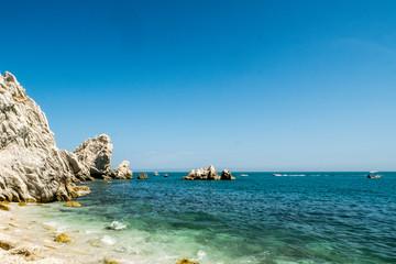 Mediterranean famous beach of Le Due Sorelle, Conero, Marche Italy
