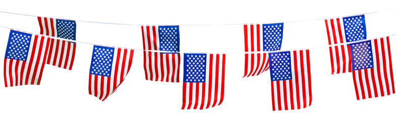 American flag isolated on white