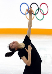 South Korea's Kim Yuna practices her routine during a figure skating training session at the Iceberg Skating Palace training arena in preparation for the 2014 Sochi Winter Olympics