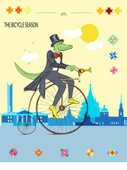 A crocodile on a bicycle rides a beautiful city in the daytime.