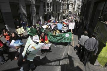 People protest against the construction of the Villa Tunari - San Ignacio de Moxos highway in La Paz