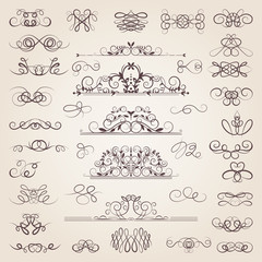 Vector set of decorative classical swirls and strokes. Medieval elements set