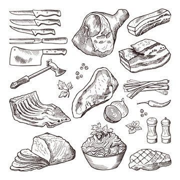 Different meat food. Pork, bacon and kitchen accessories. Knife and axe vector hand drawn picture