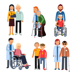 Disabled people group or hospital patients and helping man. Vector illustrations isolate on white background