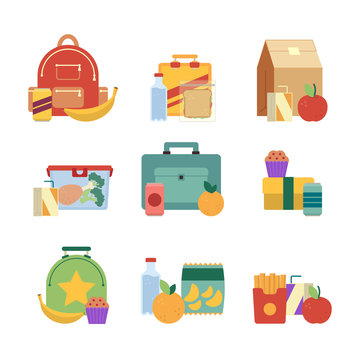 Healthy lunch in plastic box. Lunchbox for kids. Vector illustration set isolate on white background