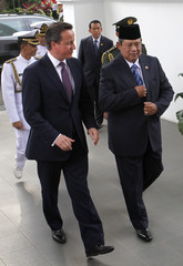 Britain's Prime Minister Cameron walks with Indonesian President Yudhoyono upon his arrival at Merdeka Palace in Jakarta