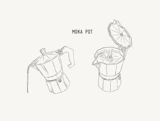 moka pot , coffee brewing ,sketh vector.